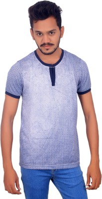 BOMBAY BLUES Printed Men's Round Neck Light Blue T-Shirt