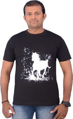 Zorba Mart Animal Print Men's Round Neck Black T-Shirt