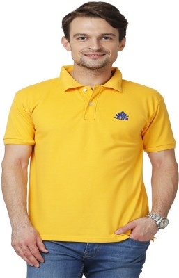 ABLOOM Solid Men's Polo Neck Yellow T-Shirt