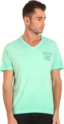 Sting Solid Men's V-neck Green T-Shirt