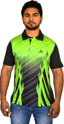 Aerotech Printed Men's Polo Neck Reversible Black, Green T-Shirt