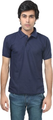 Stylish Trotters Solid Men's Polo Dark Blue T-Shirt