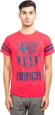FC Barcelona Printed Men's Round Neck Red T-Shirt