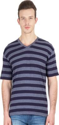 Hypernation Striped Men's V-neck Blue, Grey T-Shirt