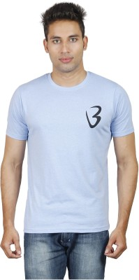 Being Odia Solid Men's Round Neck Blue T-Shirt