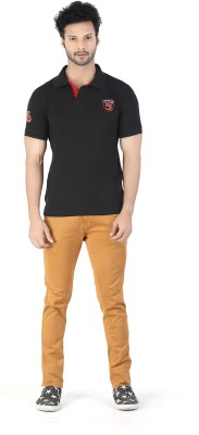 Kkoir Embroidered, Solid Men's Polo Black T-Shirt