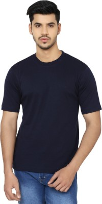 GIO Solid Men's Round Neck Dark Blue T-Shirt