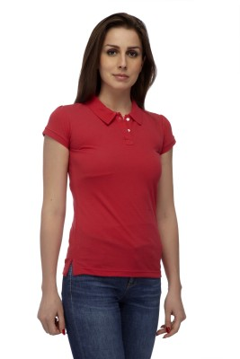 Manola Solid Women's Polo Neck Pink T-Shirt