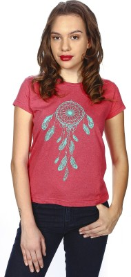 karney Printed Women's Round Neck Red T-Shirt