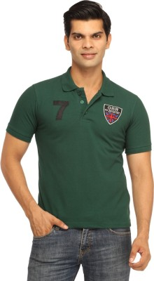 Rockhard Solid Men's Polo Neck Dark Green T-Shirt