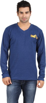 Humtees Solid Men's Round Neck Blue T-Shirt