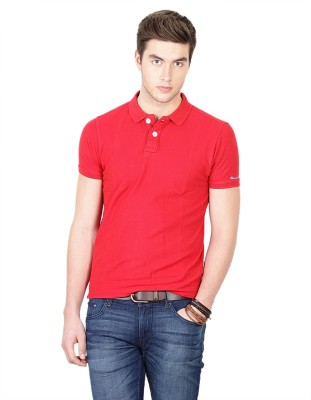 Basics Solid Men's Polo Neck Red T-Shirt