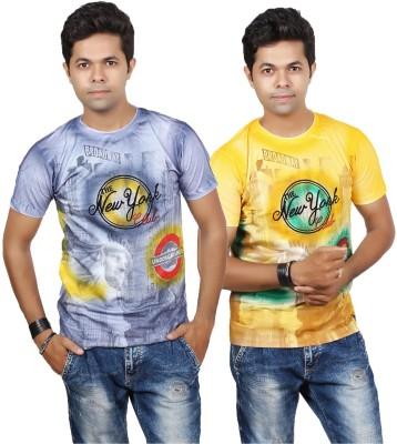 JG FORCEMAN Graphic Print Men's Round Neck Multicolor T-Shirt