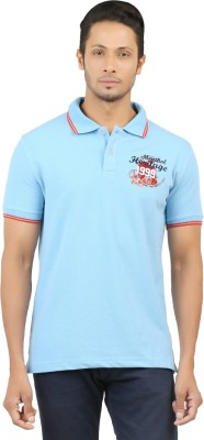 Menthol Solid, Embroidered, Applique, Printed Men's Polo Neck Light Blue T-Shirt