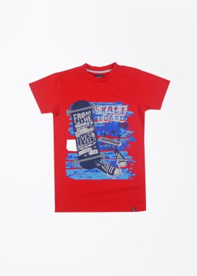 Nauti Nati Printed Boy's Round Neck Red T-Shirt