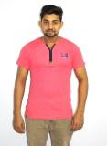 99DailyDeals Printed Men's V-neck Pink T...