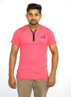 99DailyDeals Printed Men,s V-neck Pink T-Shirt