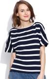 Vaak Striped Women's Boat Neck Blue T-Sh...
