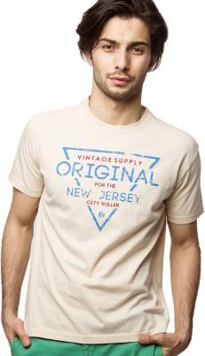 American Swan Solid Men's Round Neck White T-Shirt