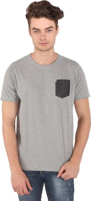 Caricature Solid Men's Round Neck Grey T-Shirt