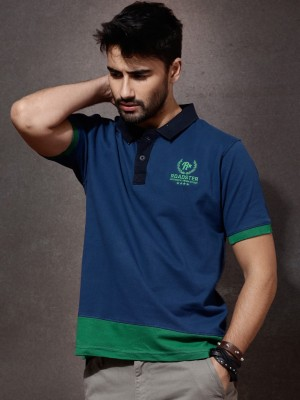 Roadster Solid Men's Polo Neck Dark Blue T-Shirt
