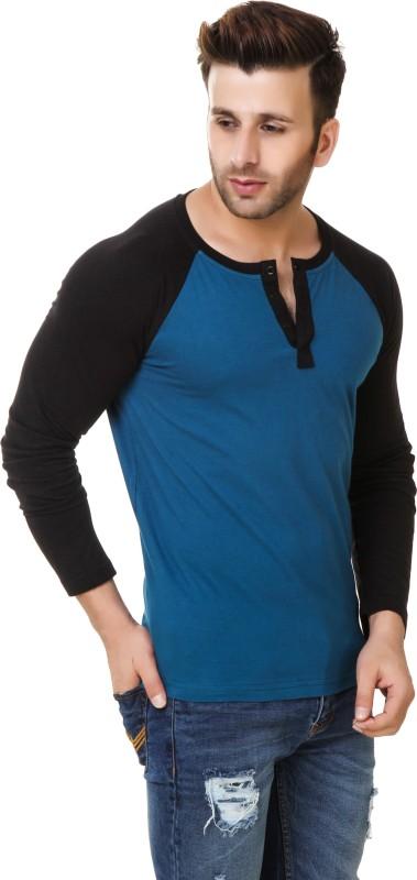 Fabstone Solid Men's Henley Blue, Black T-Shirt