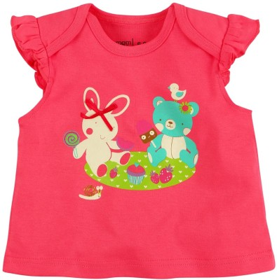 Mom & Me Printed Baby Girl's Round Neck Pink T-Shirt