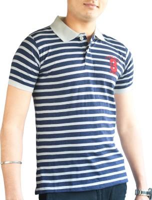 CAPRICIOUS Striped Men's Polo Neck Dark Blue, White T-Shirt