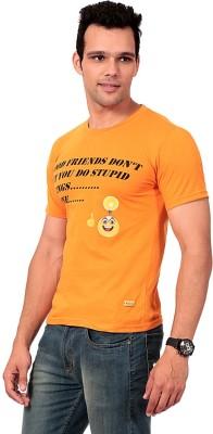 Texco Printed Men,s Round Neck Orange T-Shirt