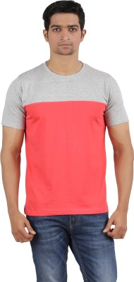 SK Solid Men,s Round Neck Grey, Red T-Shirt