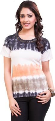 TVENO Printed Women's Round Neck Black T-Shirt