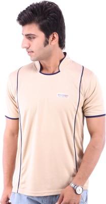 Being Champion Solid Men's Flap Collar Neck Beige T-Shirt