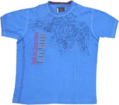Mankoose Printed Boy's Round Neck Dark Blue T-Shirt