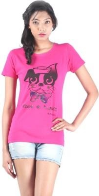 S9 Women Printed Women's Round Neck Pink T-Shirt