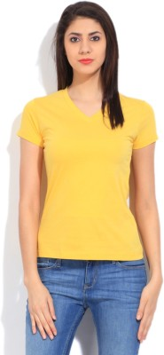 STYLE QUOTIENT BY NOI Solid Women's V-neck Yellow T-Shirt