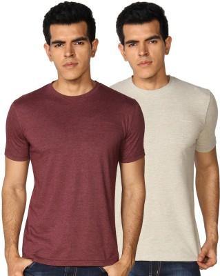 Provogue Solid Men's Round Neck Multicolor, Maroon T-Shirt