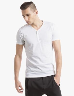 Shuffle Solid Men's Henley White T-Shirt