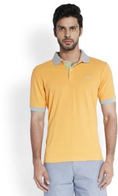 ColorPlus Solid Men's Polo Neck Beige T-Shirt