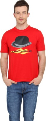 Filmwear Graphic Print Men's Round Neck Red T-Shirt