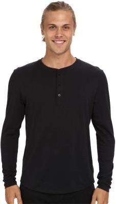 Nicewear Solid Men's Henley Black T-Shirt