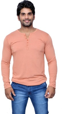 Style In Solid Men's V-neck Orange T-Shirt