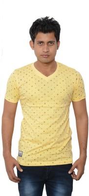 Lampara Polka Print Men's V-neck Yellow T-Shirt