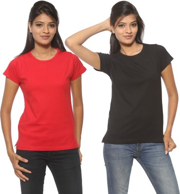 Threadz Solid Women's Round Neck Black, Red T-Shirt