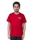 FastFox Solid Men's Round Neck Red T-Shi...