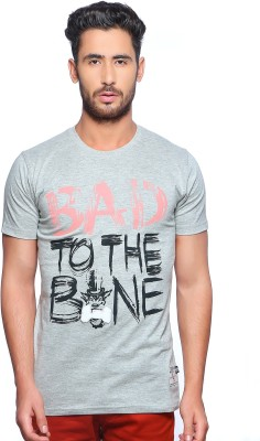 Nucode Graphic Print Men's Round Neck Grey T-Shirt