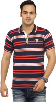 Byrock Striped Men's Polo Neck Red T-Shirt