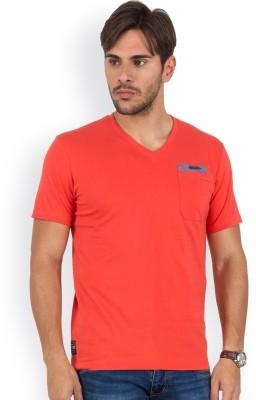 Blue Monkey Self Design Men's V-neck Orange T-Shirt