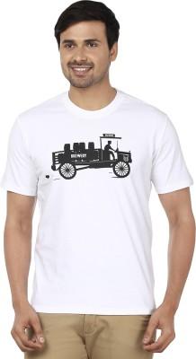 Ruse Printed Men's Round Neck White T-Shirt