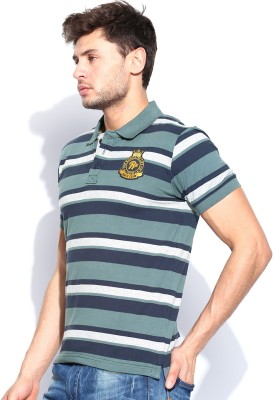 Roadster Striped Men's Polo Blue T-Shirt