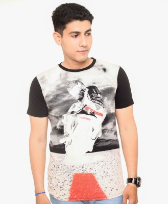 Zwizdot Printed Men,s Round Neck Black T-Shirt